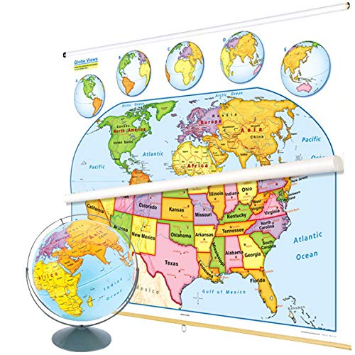 Nystrom U.S. and World Map Early Learning Classroom Pack with Globe (Nystrom Raised Relief Map Of The World)