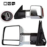 Scitoo Towing Mirrors For 07-14 Toyota Tundra Pickup Chrome Power Heat Signal Side Pair Mirrors