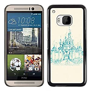 All Phone Most Case / Hard PC Metal piece Shell Slim Cover Protective Case Carcasa Funda Caso de protección para HTC One M9 church castle teal painting medieval