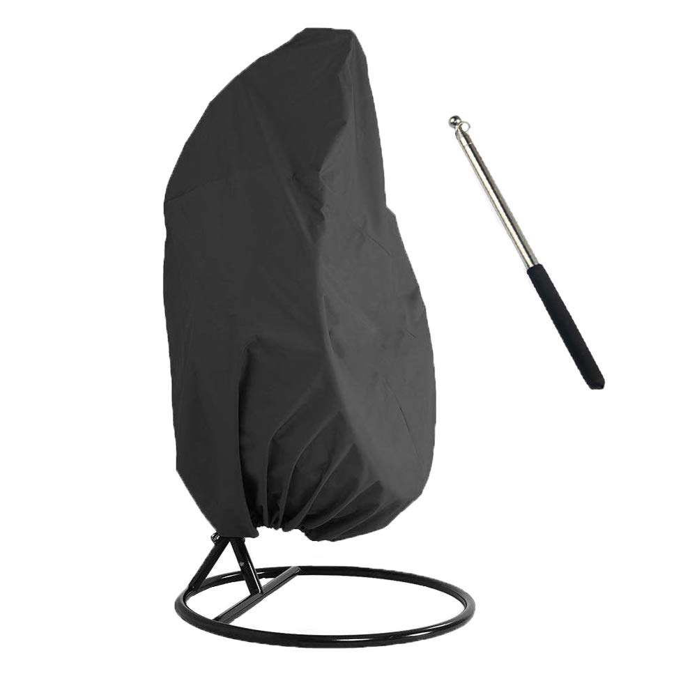 Comily Plus+ 420D Waterproof Patio Hanging Chair Cover Fits Up to H91 x D80 2 Seats Egg Swings with 1PC Extension Pole