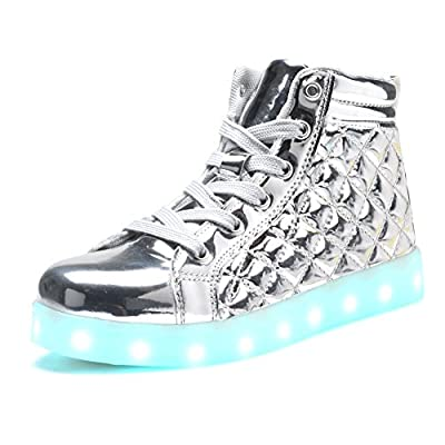 COODO Boy's & Girl's High Top LED Shoes 7 Colors Lights USB Charging Light up Sneakers CD2005