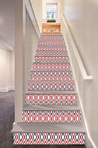 """Geometric 3D Stair Riser Stickers Removable Wall Murals Stickers,Modern Design Red and Navy Color Diamond Line Pattern Simple Fashion Decorative,for Home Decor 39.3""""x7""""x13PCS,Navy Blue Red and White"""