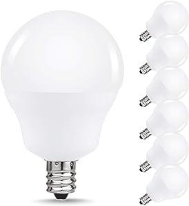 JandCase LED Globe Candelabra Light Bulbs, 2.5W(25W Equivalent), 250lm, Soft White 3000K, LED Bulbs for Ceiling Fan, E12 Base, Tiny G14 Bulbs, Not Dimmable, 6 Pack