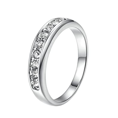 Faux Enement Rings   Amazon Com Yoursfs Faux Diamond Wedding Ring 18k White Gold Plated
