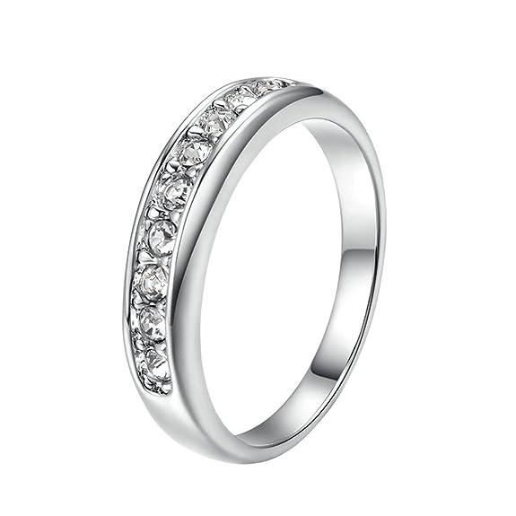 2 opinioni per Yoursfs Diamante Argento Colore Matrimonio Fedi per Donne/Cristallo Austriaco