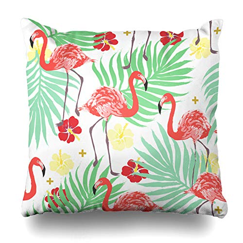 Ahawoso Throw Pillow Cover Green Summer Tropical Exotic Flamingo Palm Pattern Pink Vintage Abstract Beach Design Bird Home Decor Cushion Case Square Size 18