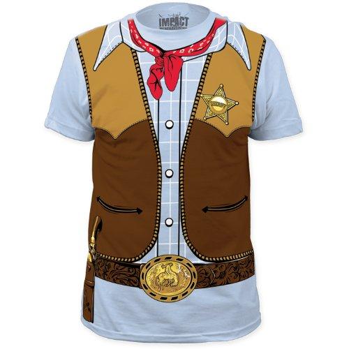 Cowboy Costume Tee (slim fit) T-Shirt Size L (Mens Cowboy Costume Tshirt)