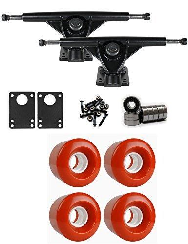 最小即席やむを得ないRKPブラックLongboard Trucksホイールパッケージ60 mm x 47 mm 83 a 180 Cオレンジ [並行輸入品]
