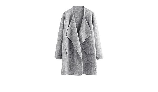 Shein mujer Cardigan de manga larga abierta frontal suelto suéter abrigo - Gris -: Amazon.es: Ropa y accesorios