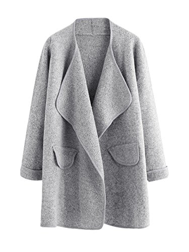 SheIn Women's Long Sleeve Cardigan Open Front Loose Sweater Coat (One Size, ()