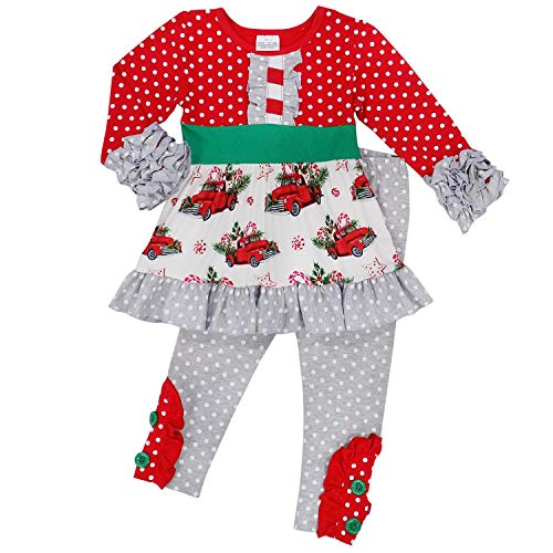 So Sydney Toddler 2 Pc Christmas Ruffle Pant Tunic Top Holiday Girls Boutique Clothing Outfit (M (4T), Polka Dot Christmas Truck) ()
