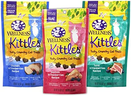 Wellness Kittles Cat Treat Variety Pack – 3 Flavors Chicken Cranberries, Salmon Cranberries, and Tuna Cranberries Flavors – 2 oz Each 3 Total Pouches