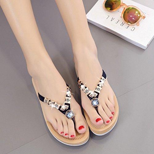 Sentao Mujeres Verano Flip Flops Zapatos Bohemia Playa Sandalias Zapatillas con cuentas Negro 2