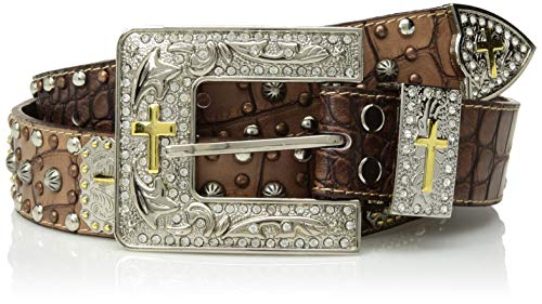 Ariat Women's Crocodile Cross Conch Muli Nail Belt, brown, Small ()