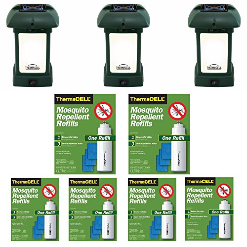 Cordless Outdoor Repeller - Thermacell MR-9L Outdoor Mosquito Repellers/Lanterns (3) & Six Refill Packs Bundle (36 Mats, 12 Cartridges)