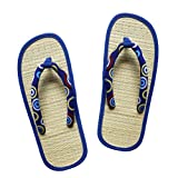 USA STEP Ladies Women's Big Girls' Handmade Fashion Indoor Outdoor Home Spa Hotel Blue Circle Pattern Straw Seagrass Summer Flip Flops Sandals Slippers Thong