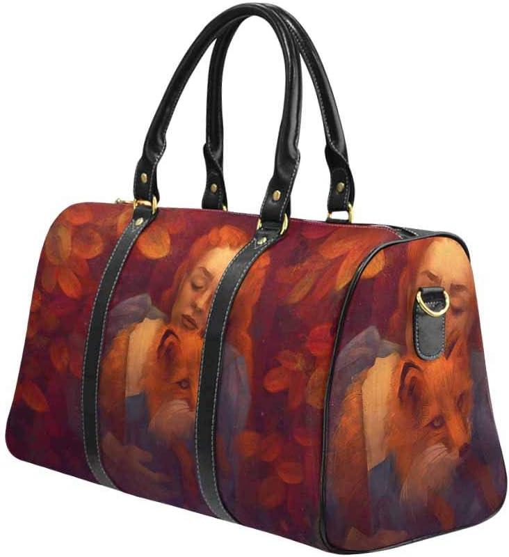 InterestPrint Carry-on Garment Bag Travel Bag Duffel Bag Weekend Bag Young Woman Hugging a Fox
