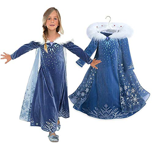 TTYAOVO Longsleeve Girls Snow Queen Cosplay Costume Princess Halloween Party Dresses with Cape Size 3-4 Years Blue