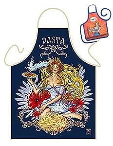 Delantal Diosa Pasta Delantal Mujer GeIL estampado Set de regalo con mini botella Delantal
