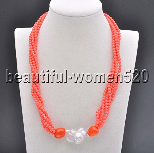 White Pearls Pink Coral Necklace - PINK NECKASE X0494 Set 5Strds Red & Pink round Coral White keshi pearl Necklace & Bracelet