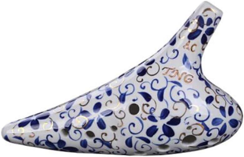 HENG オカリナ、12ホールの青と白の磁器ゴールド、12ホールのミッドレンジACステージレベルオカリナ Good quality, good life (Color : White midrange AF)