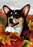 Cheap Corgi Pembroke Welsh Tri – Tamara Burnett Fall Leaves Large Flags