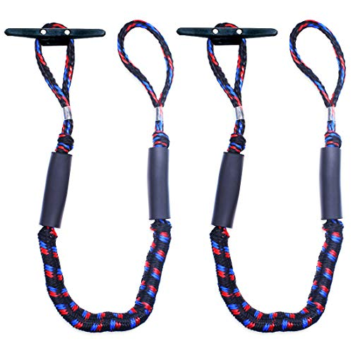 Botepon 2Pcs Boat Dock Line, Bungee Cords for Boats, Boating Gifts for Men, Boat Accessories, Pontoon Accessories, Perfect for Jet Ski, SeaDoo, Yamaha WaveRunner, Kayak, Pontoon (4 Feet)