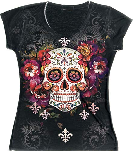 Sweet Gisele Sugar Skull V-Neck T Shirt Day of The Dead Rhinestones Bling for Women Black,Large,Black