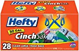 Hefty Recycling Trash Bags (Clear, Drawstring, 30 Gallon, 28 Count, Pack of 6)