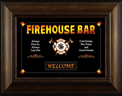 Firehouse Bar By Todd Thunstedt 20x26 Flag Verse Saying Fire First Responder Fireman Firefighter Helmet Engine Halligan Chief Hose Forest Smokey Ax Jesus Framed Art Print Wall Décor Picture