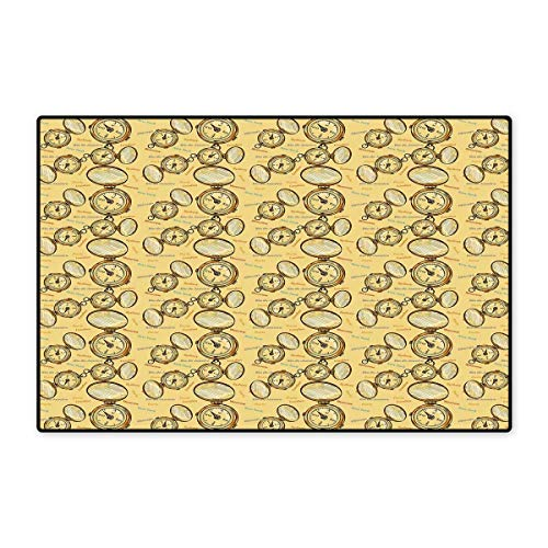 """Compass Door Mats for Home London Moscow Paris Sydney Traveling Around The World Theme Illustration Bath Mat for Bathroom Mat 16""""x24"""" Mustard Multicolor"""