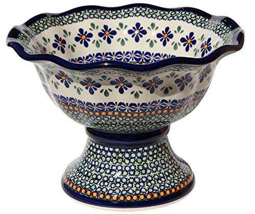 Polish Pottery Pedestal Bowl From Zaklady Ceramiczne Boleslawiec 1722-du60 Unikat Pattern, Dimensions: Height: 6.5