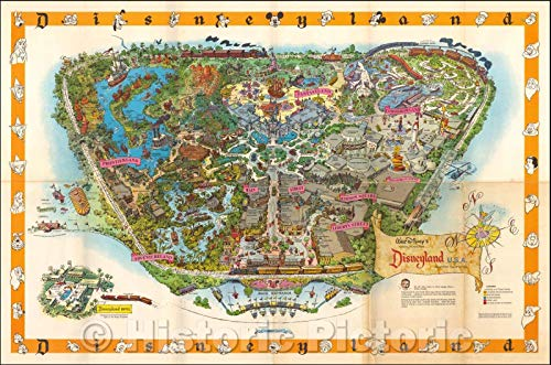 (Historic Map | Disneyland, 1958, Walt Disney Productions | Vintage Wall Art 24in x 16in)