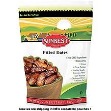 Sunbest Sun-Dried Pitted Dates in Resealable Bag,Premium Quality, Gluten Free - Non GMO - Vegan - Kosher (15 oz)