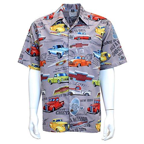 David Carey Chevy Chevrolet Trucks Camp Shirt - Retro Inspired Button Up Collared Short Sleeve Grey Club Shirt, - Inspired Button