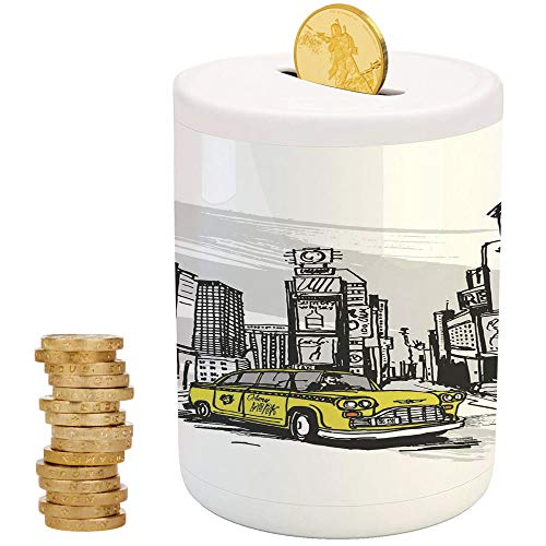 - Sketchy,Ceramic Girl Bank,Printed Ceramic Coin Bank Money Box for Cash Saving,Yellow Hand Drawn Cab in New York Street Cityscape American Urban Life Art