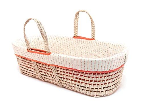 Tadpoles Line Stitched Moses Basket and Bedding Set, Orange