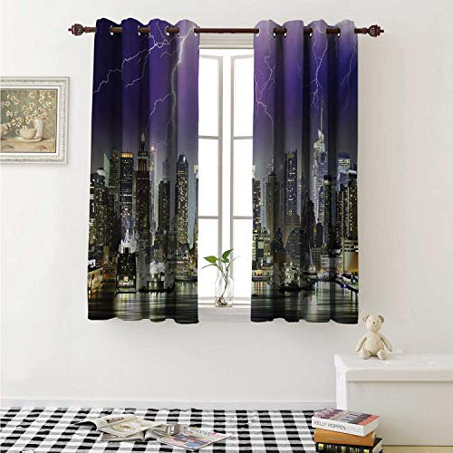 City Waterproof Window Curtain Storm and Thunder at Night in New York City Apocalyptic Dramatic View Curtains for Party Decoration W84 x L72 Inch Indigo Lilac Charcoal Grey