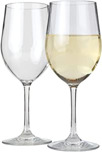 Lily's Home Unbreakable Chardonnay White Wine Glasses, Made of Shatterproof Tritan Plastic, For Indoor and Outdoor Use, Reusable and Dishwasher-Safe, Crystal Clear. 12 oz. Each, Set of 2