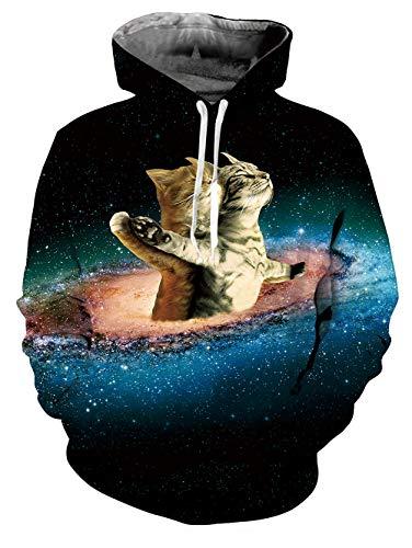 Fanient Unisex Funny Cat Print Hoodie Novelty Personalised Sweatshirt Pullover Hooded Stretch Hoodies -