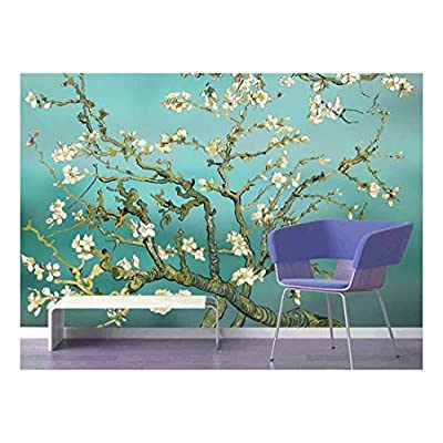 Aqua Almond Blossom by Vincent Van Gogh - Wall Mural, Removable Sticker, Home Decor - 100x144 inches