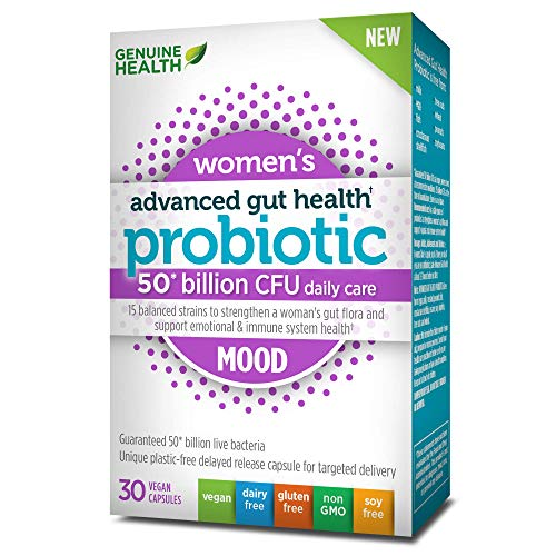 Genuine Health Advanced Gut Health Probiotics for Womens Mood Support, 50 Billion Cfu, 15 Diverse Strains, Non GMO, Dairy Free, Gluten Free, Soy Free, Vegan Delayed-Release Capsules, 30 Count
