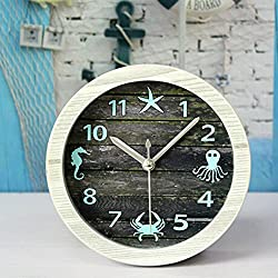 Alrens(TM)4.7 Nice Ocean Retro Distressed Wood Desktop Clock Vintage Creative Silent Non-ticking Quartz 3D Desk Clock Home Decor Bedroom Living Room Bell Clock Art Gift