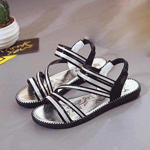 Sandalias para Mujer, RETUROM Nuevo verano cómodo de Bling sandalias zapatos Negro
