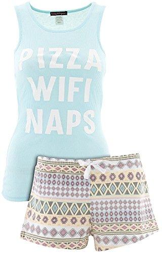 Grumpy and Gorgeous Juniors Pizza Wifi Naps Blue Shorty Pajamas XL