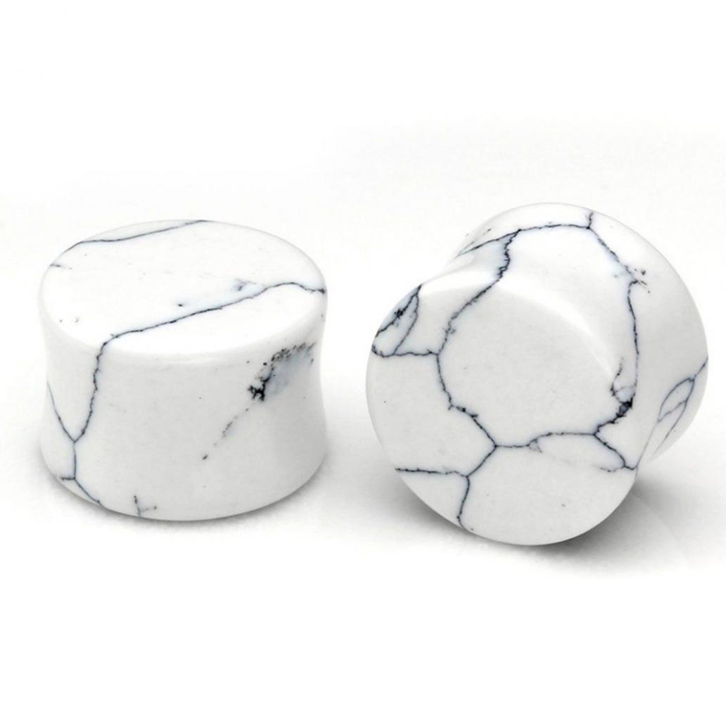 braceus 1ペアターコイズストーン耳トンネル耳プラグエクスパンダボディピアスジュエリーギフト 19mm 8111751LRFLJ5256 19mm White Turquoise B075WN2G42