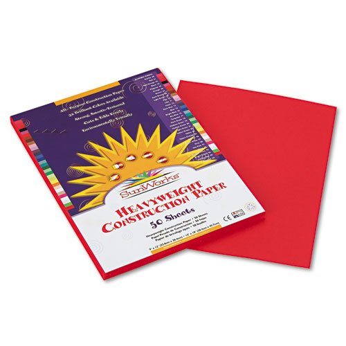 SunWorks Construction Paper 58 lbs 50 Sheets//Pack 9 x 12 Holiday Red