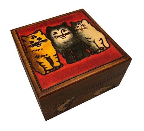 Cats and Mice Wooden Box Polish Handmade Keepsake Cat lovers Jewelry Box
