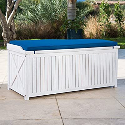 Brighton Beach Outdoor Wood Storage Bench with Blue Cushion in White Finish 48L x 20W x 21H in.