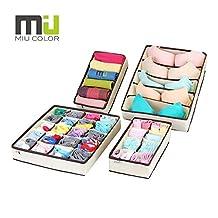 MIU COLOR Drawer Organizer Storage - Foldable Cube Closet Organizer, Bra Underwear Drawer Divider, 4 set, Beige